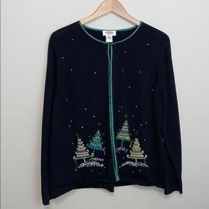 TALBOTS Black Embroidered Christmas Tree Cardigan